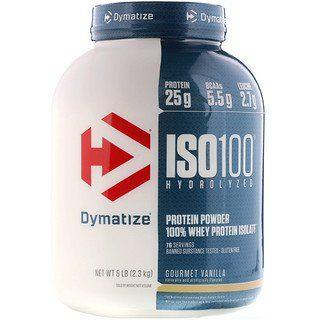 Dymatize Nutrition, ISO100 Hydrolysiert, 100 % Molkenprotein-Isolat, Gourmet-Vanille, 5 lbs (2,3 kg) iherb