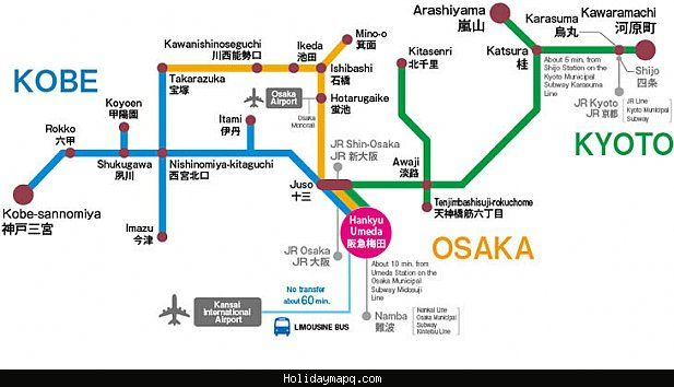 Kyoto Subway Map Vector.Nice Osaka Kobe Kyoto Map Tourist Attractions Holidaymapq In 2019