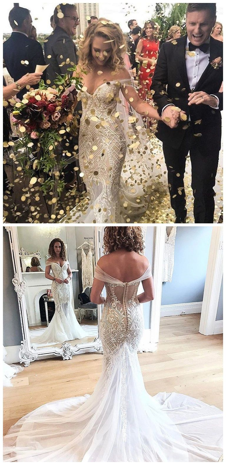 Off the shoulder vintage mermaid wedding dresses lace applique retro
