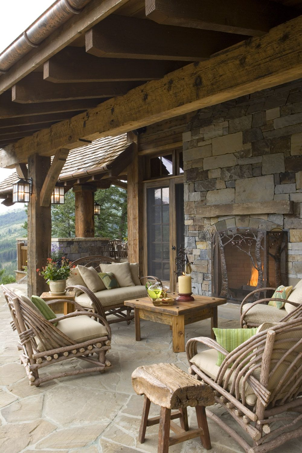 Rustic covered patio ideas - A Beautiful Covered Patio Fireplace For A Mountain Country Home A Great Place To Gather Enjoy The Outdoors