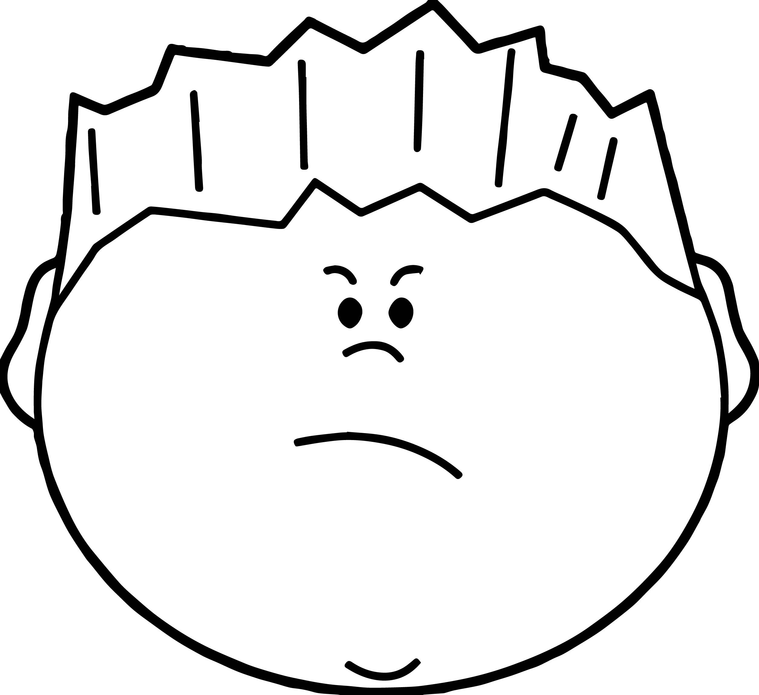 Angry Boy Face Coloring Page