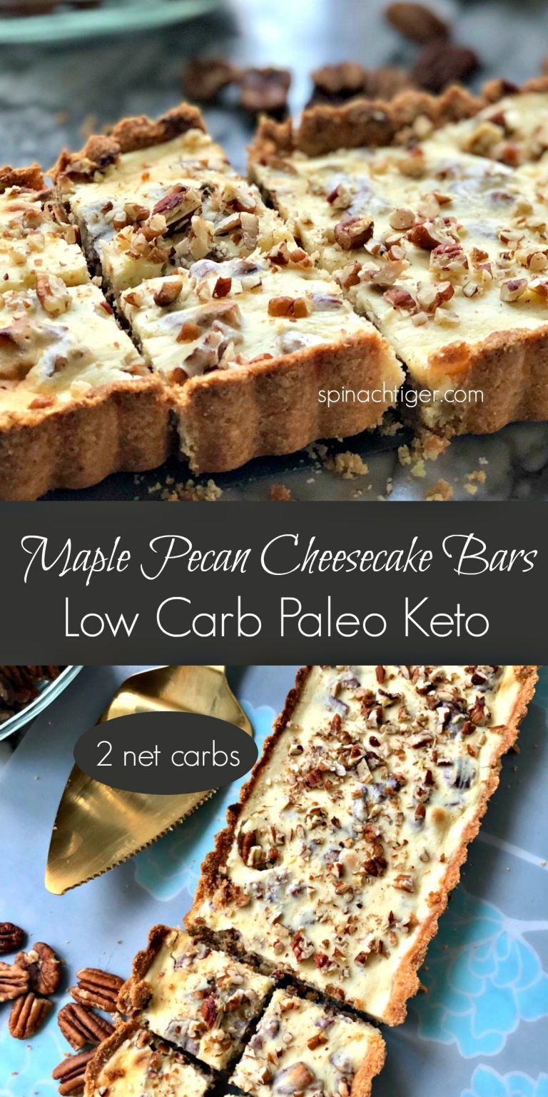 Grain Free Maple Pecan Bars Keto Low Carb Sugar Free Recipe