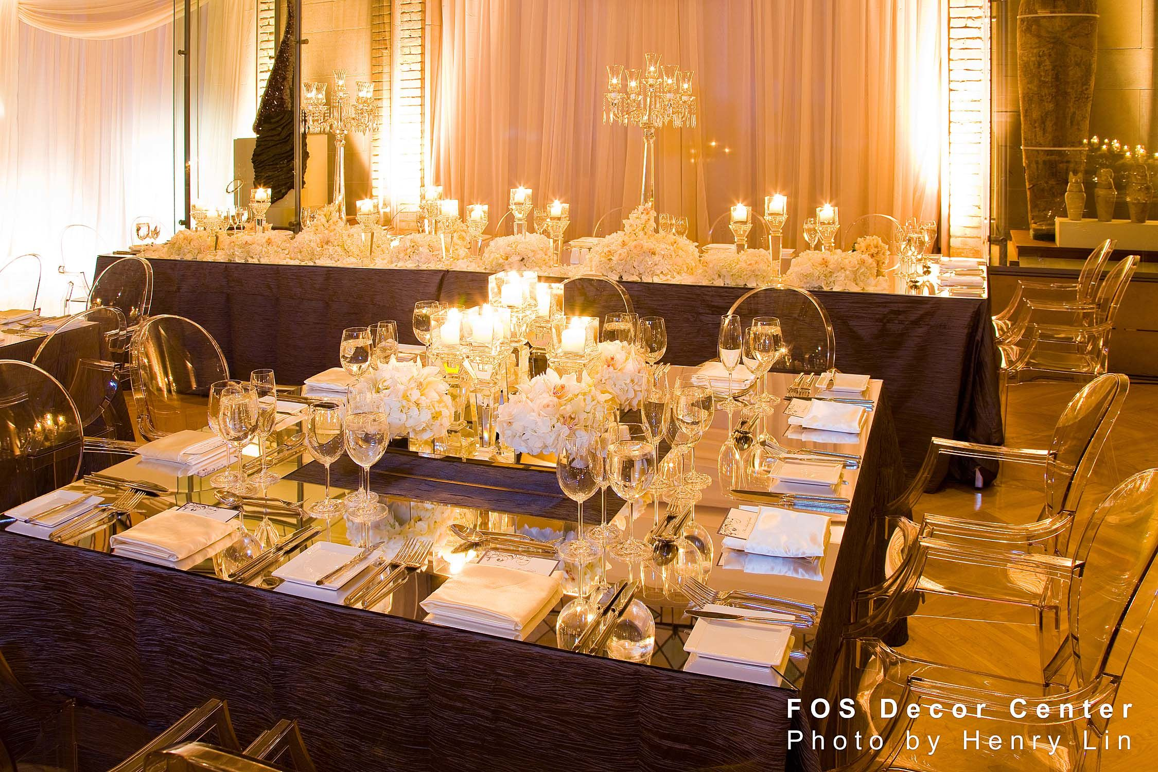 Ideas For Head Table At Wedding head table white linens purple runners hydrangea and purple dendrobium orchids in glass Wedding Head Table White With Mirrored Top And Lots Of Stunning
