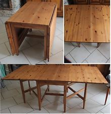 GRANDE TABLE BOIS PIN MASSIF IKEA LEKSVIK RALLONGE RABAT PIED 6 8 ...