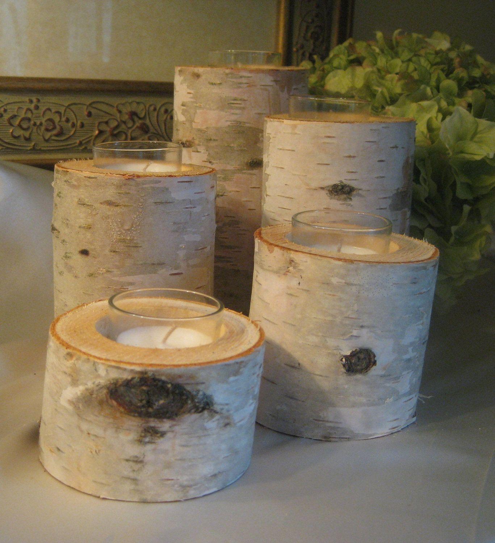 beautiful birch bark votive candle holders
