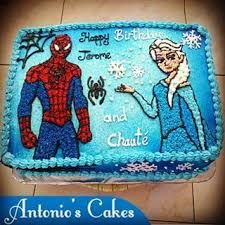 Resultado de imagen para spiderman and frozen cake