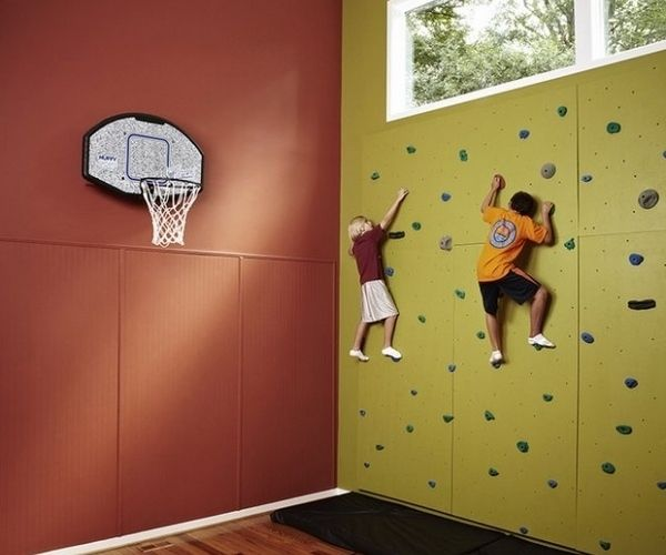kids climbing wall basketball field playroom design ideas   ROCK ...