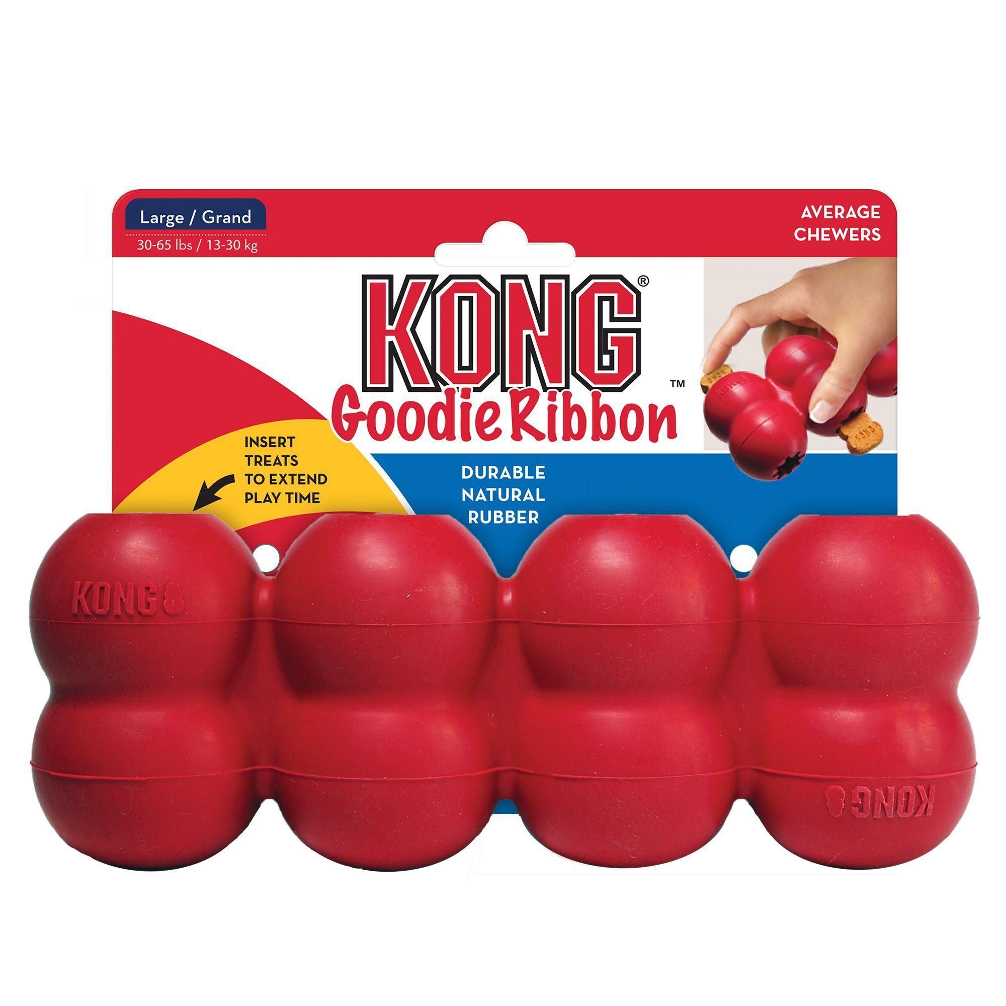 KONG Goodie Ribbon Dog Toy Treat Dispensing, bone/butter
