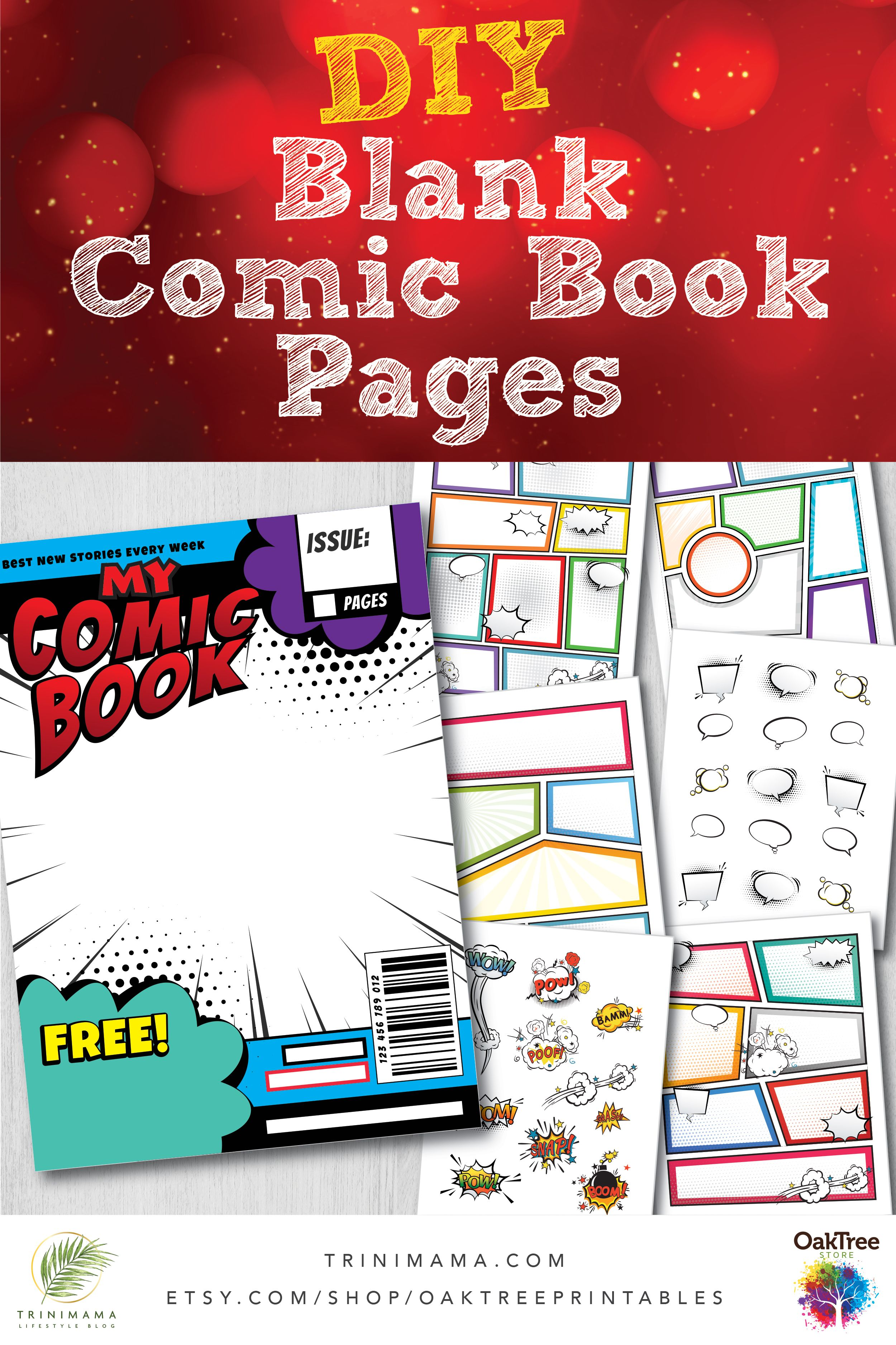Blank Comic Book Strip Templates Pages