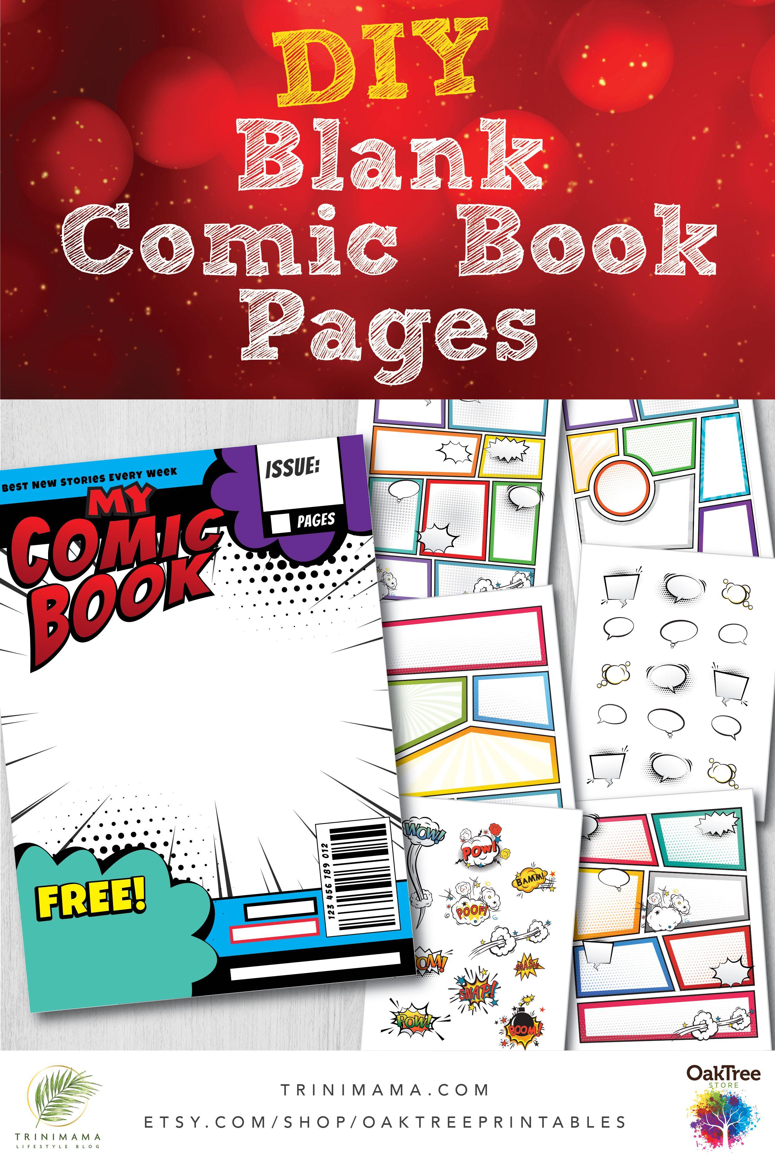 Blank comic book strip templates pages diy superhero