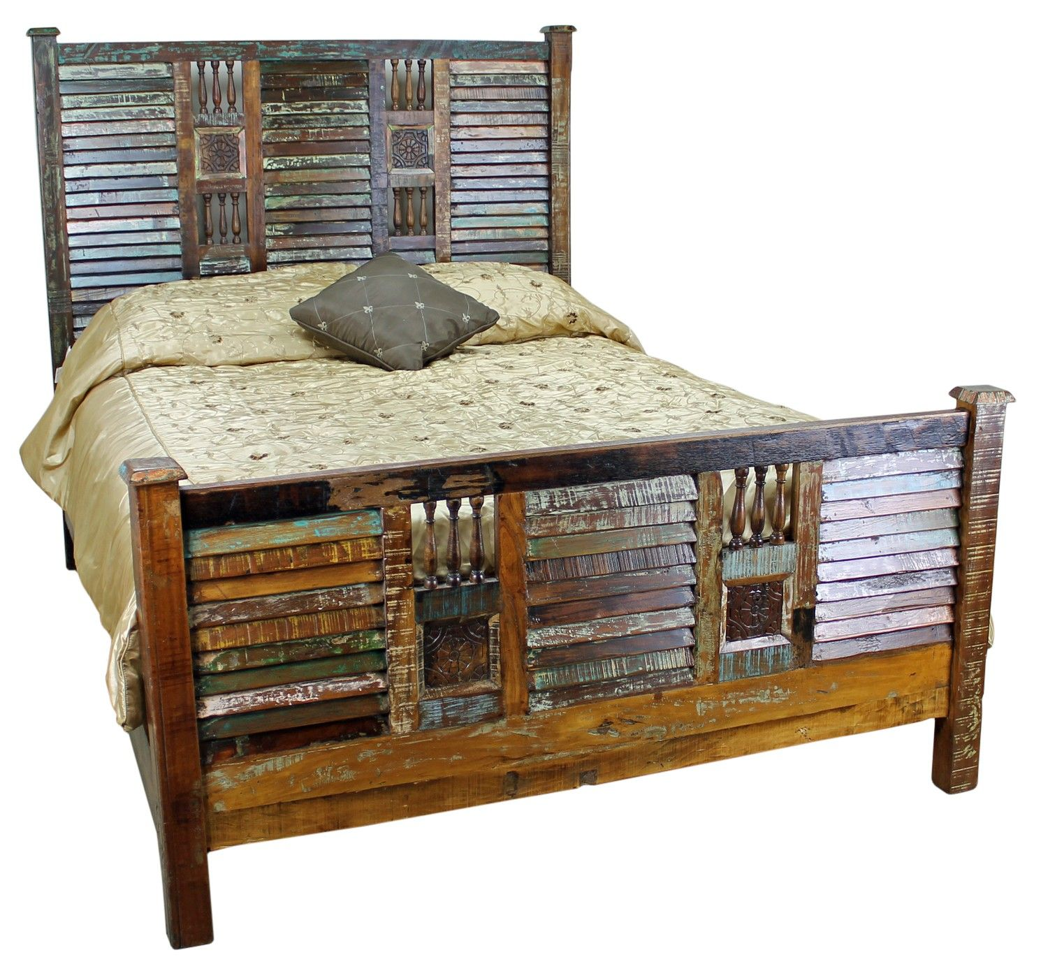 Wooden bed furniture design - Mexicali Rustic Wood Bed Set Furniture