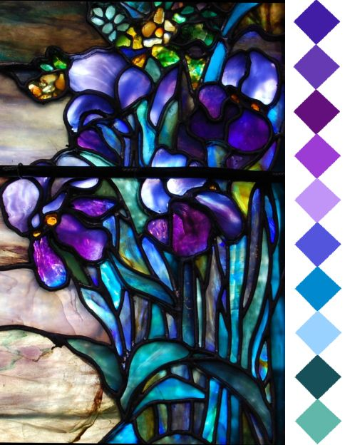 wysiwyg26: Stained Glass - 2  Portion of a Tiffany Stained Glass Window. (color id: Pantone, by leaff) Original at URL given.