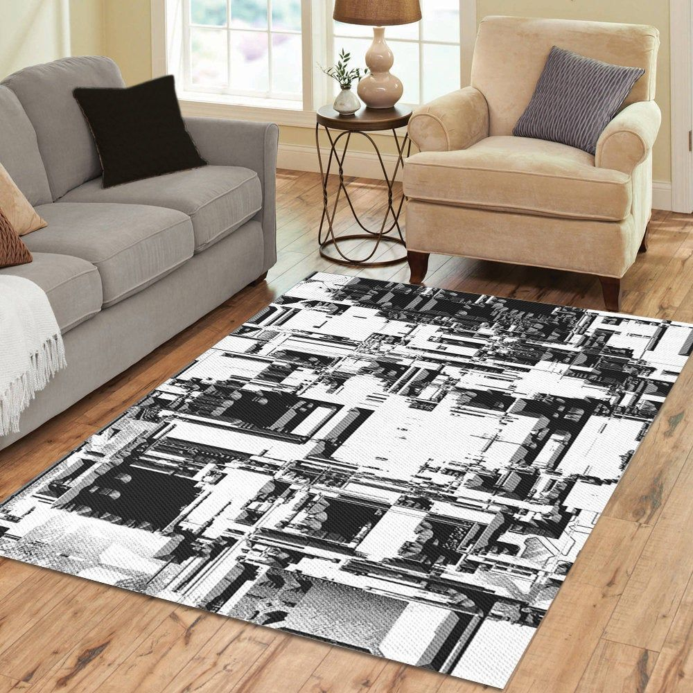 Bold Abstract Area Rug Modern Black White And Gray Print