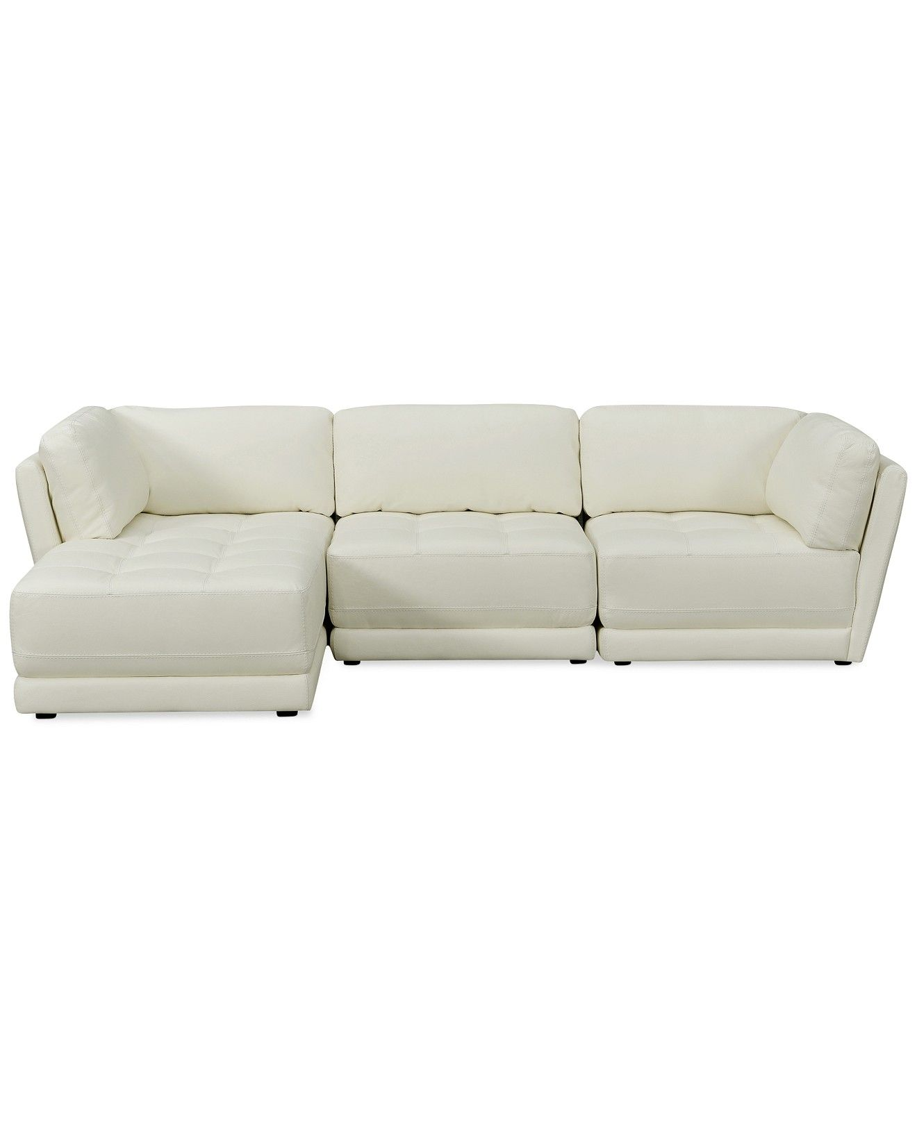 Traverso Leather 3 Piece Chaise Modular Sectional Sofa Couches