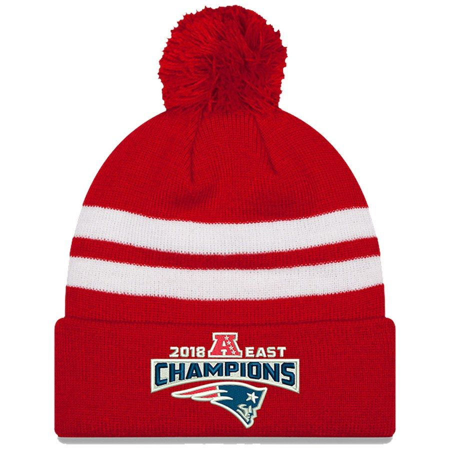 Men s New England Patriots New Era Red 2018 AFC East Division Champions  Cuffed Pom Knit Hat 75fdec6d1
