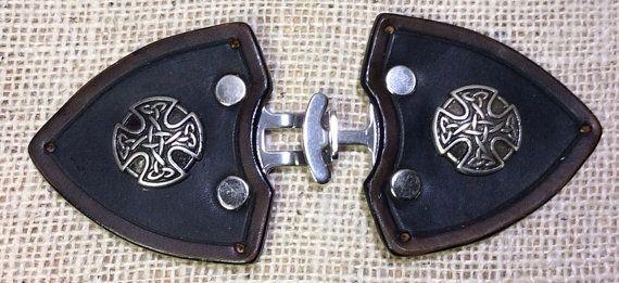Cloak clasp leather celtic medieval SCA LARP by TheGriffinWorks, $20.00
