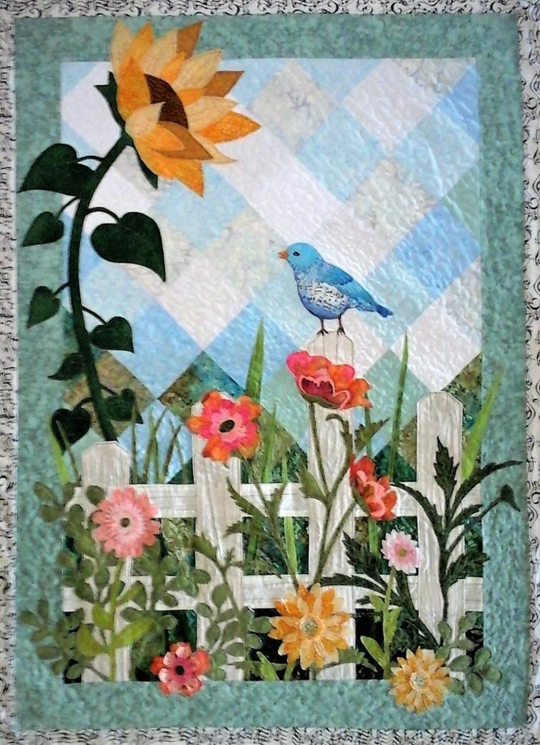 Musical Blue Bird Garden Flowers Spring Landscape Craftsy Flower Quilts Sunflower Quilts Applique Quilt Patterns