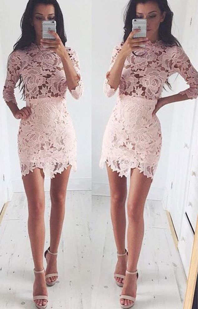 1314c27f577 Fancy Scalloped Neck 3 4 Sleeves Pink Sheath Lace Homecoming Dress ...
