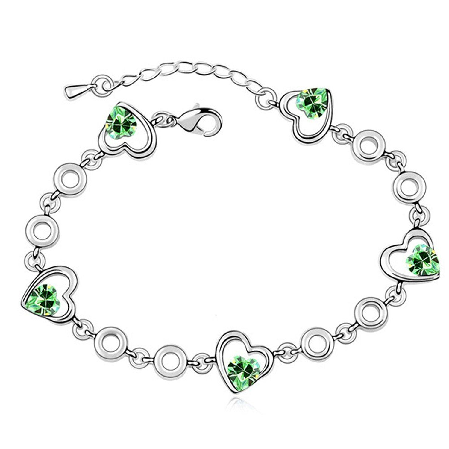 Latigerf double heart bracelet white gold plated swarovski elements