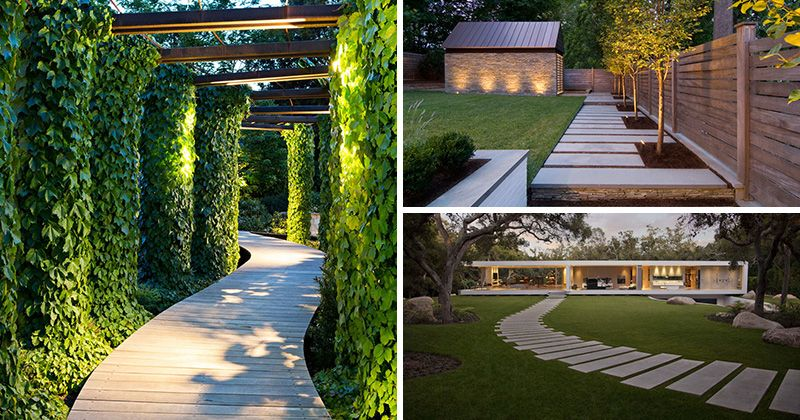 14 Modern Walkways And Paths That Are Creative And Functional Backyard Walkway Contemporary Landscape Design Modern Landscaping