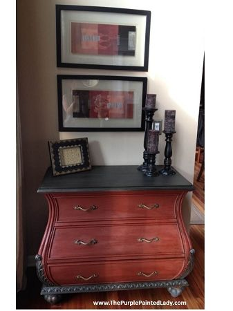 The Purple Painted Lady Primer Red Chalk Paint Top Done In Graphite Clear Wax And Then A Black Painted Furniture Red Furniture Black Chalk Paint Furniture