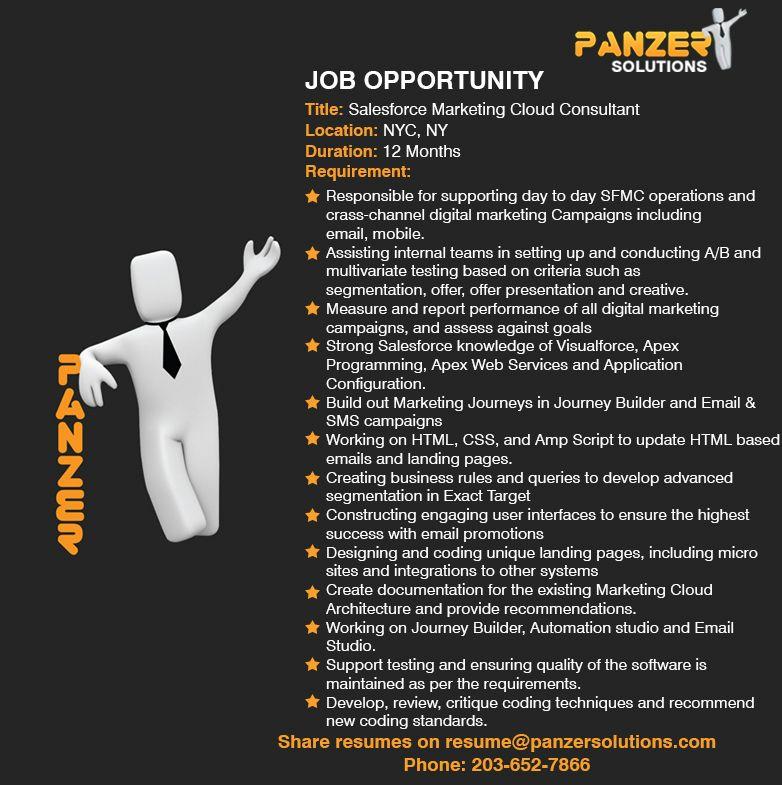 Job Title Salesforce Marketing Cloud Consultant Location