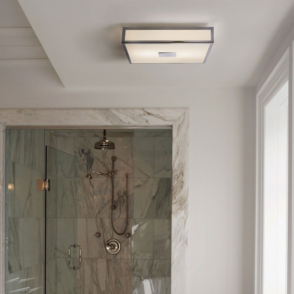 Mashiko 400 Square Bathroom Light In Polished Chrome Ip44 4 X E27