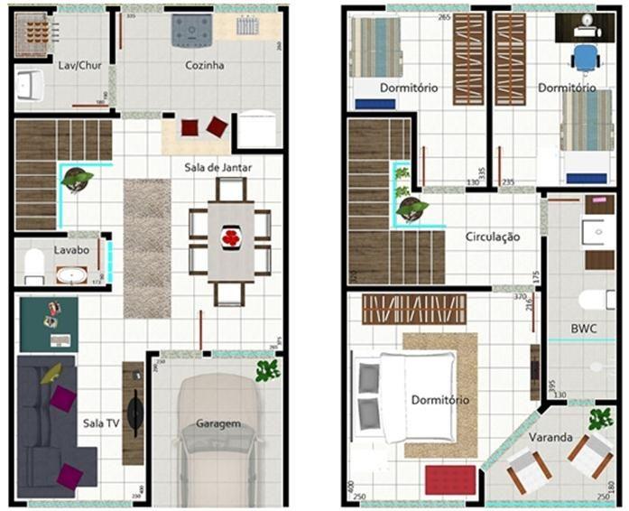 001 planos de casa dos pisos 106 m2 bosque atras (de  3 dormitorios).  Acá tenemos el plano del primer piso donde tenemos el living, el comedor, la cocina y el baño compartido. En el segundo piso tenemos una simple y cómoda terraza, los 3 dormitorios y el baño compartido para los dormitorios, acá pueden ver los planos del primer piso y el segundo piso de esta casa.