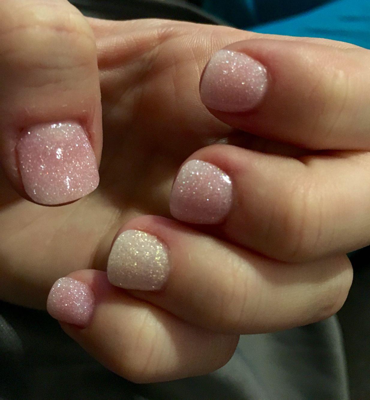 Pink Glitter White Powder Dipped Nails Manicure Mani Winter Natural
