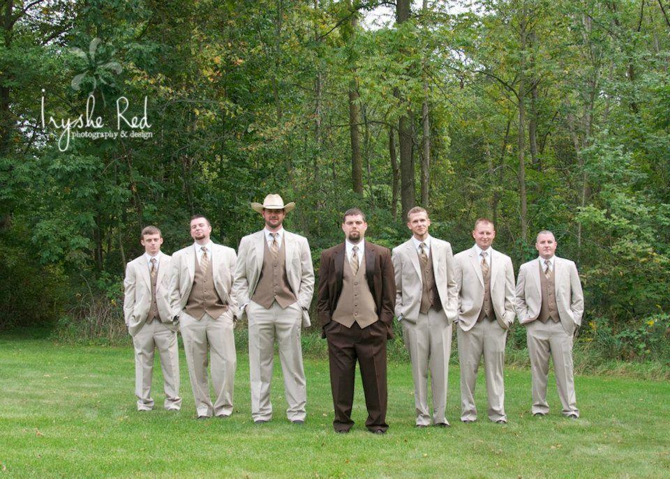 Groomsmen Country Wedding Rustic Brown Tux Groom