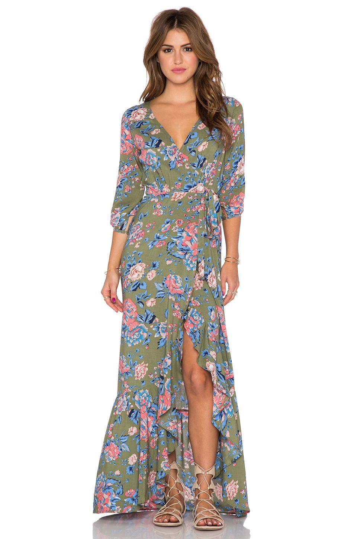 1f86262f9d AUGUSTE Willow Wrap Maxi Dress in Khaki Magnolia