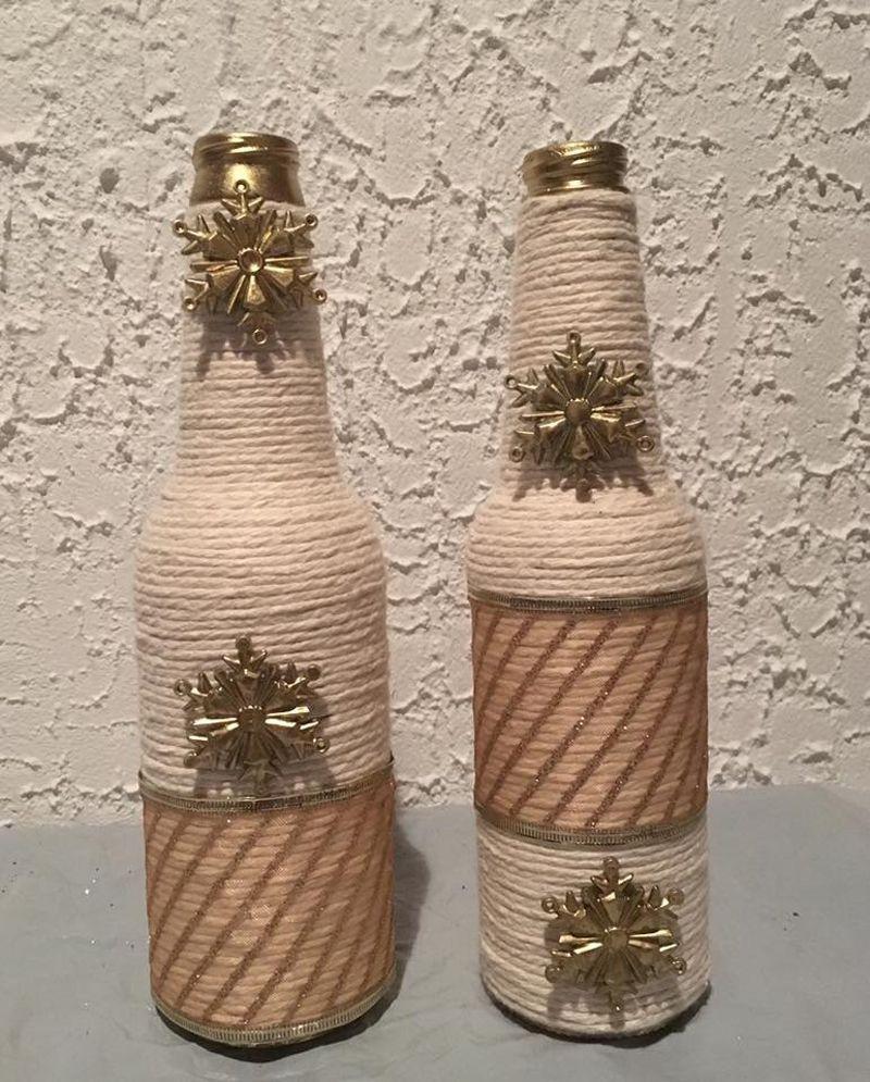 Artesanato com Garrafa de Vidro e Barbante decoraç u00e3o Garrafas decoradas, Garrafas de vidro e  # Decorar Garrafas De Vidro Com Barbante