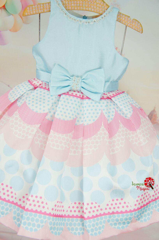 c82cd821d Vestido Infantil de Festa Petit Cherie Azul e Rosa | childrens ...