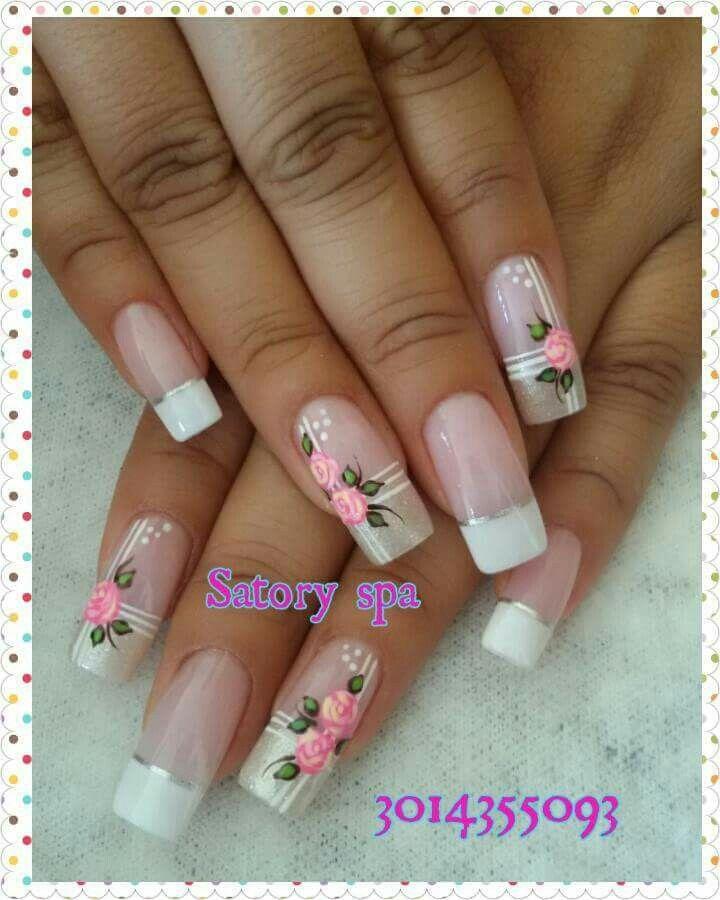Uñas frances blanco rosas vintage | Uñas diseños flores fáciles ...
