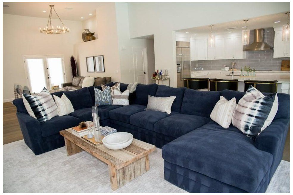 Blue Suede Sectional Adds Seating In Living Room Navy Living Room Pillows In The Blue Living Room Decor Blue Sofas Living Room Ashley Furniture Living Room