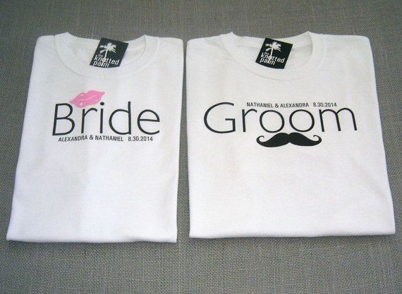 Wedding T Shirt Ideas: Mustache Groom And Bride Lips Personalized Wedding T