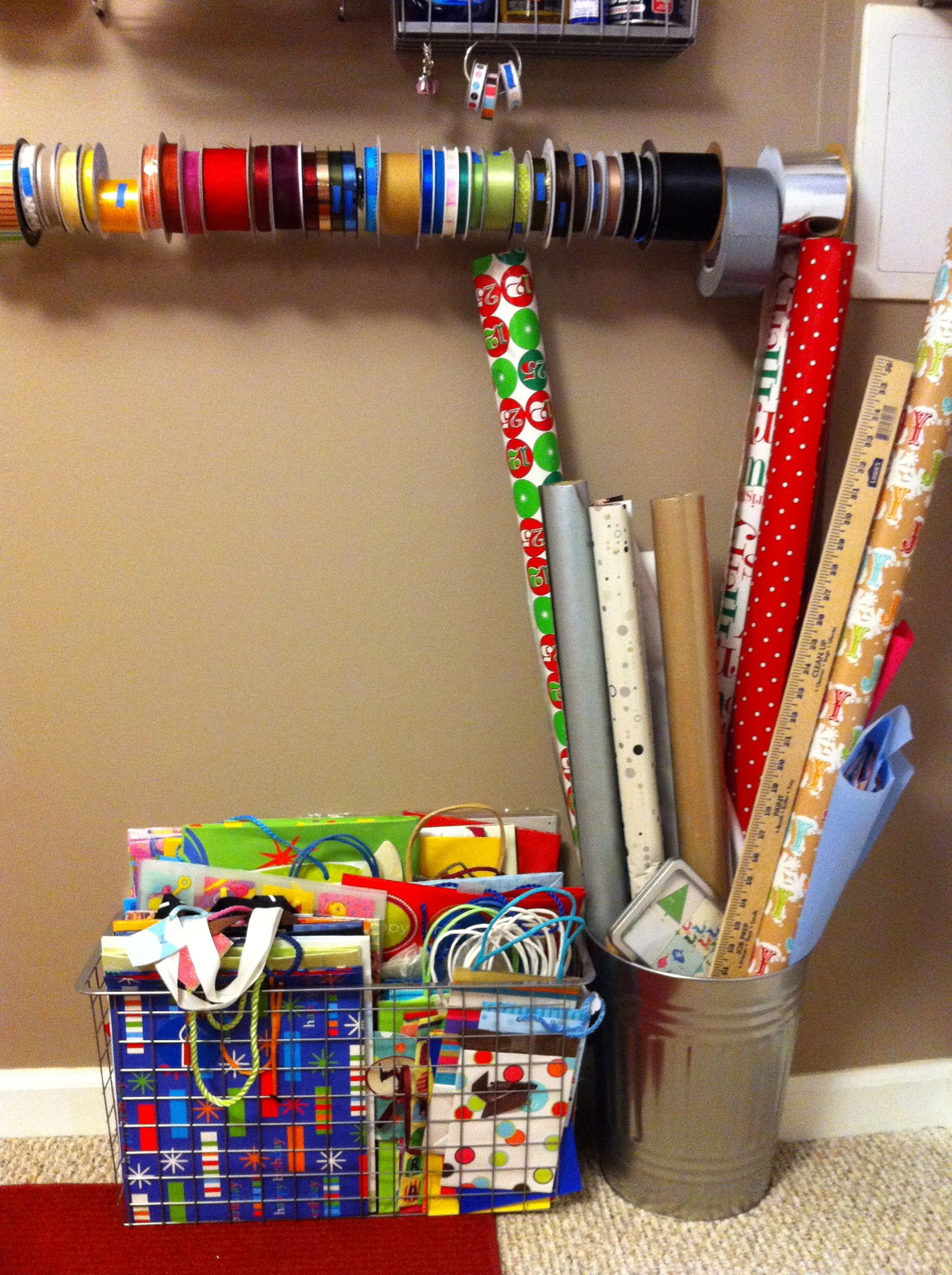 gift bag wrapping paper and ribbon storage the door my