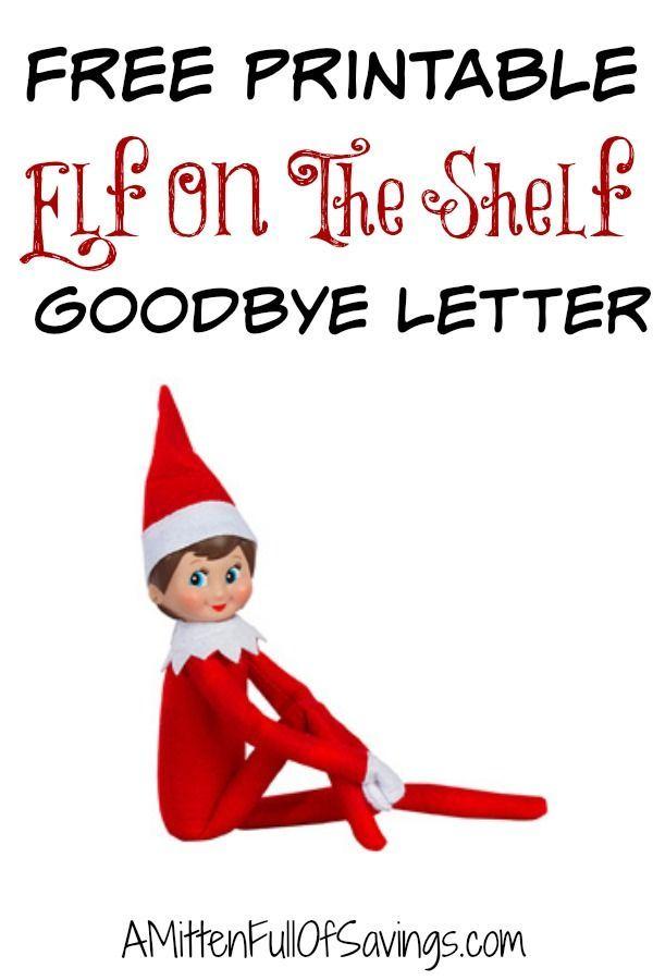 Printable Elf The Shelf Goodbye Letter