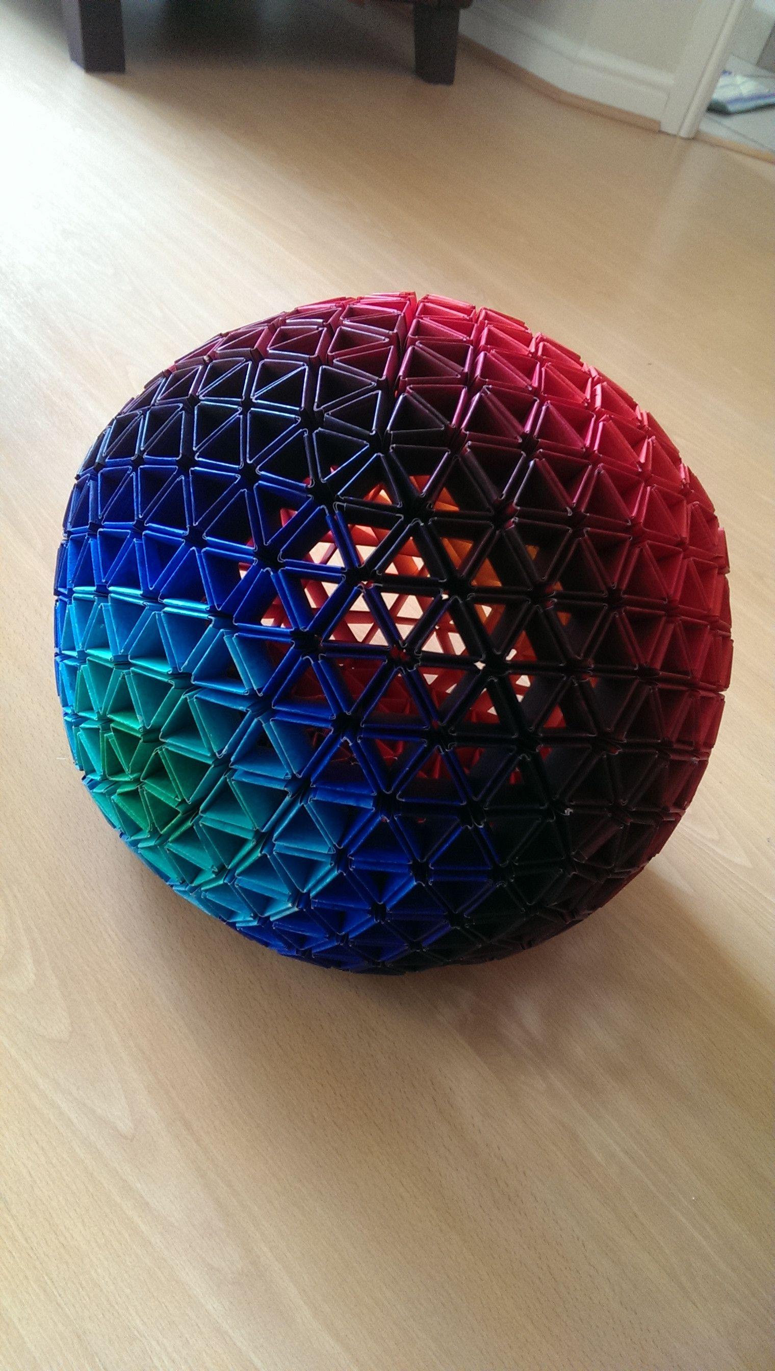 geodesic sphere instructions   Art   ペーパークラフト, 折り紙, ユニット折り紙 - photo#18
