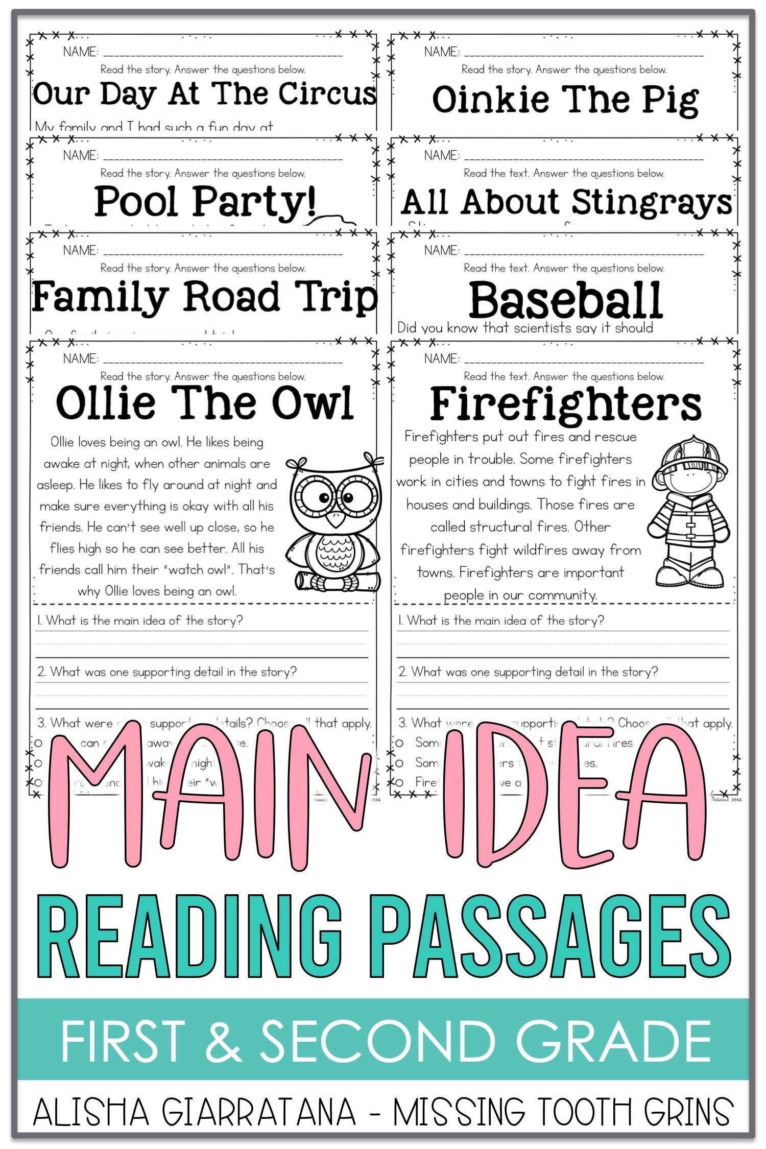 Main Idea Passages Guided Reading Resources Main Idea Worksheet Reading Center Activity [ 2250 x 1500 Pixel ]