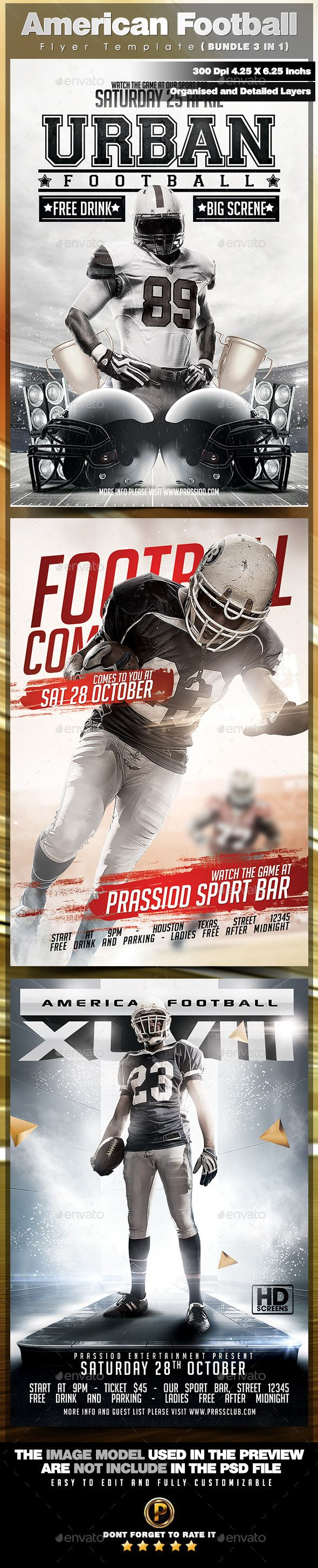 American Football Flyer Template  Bundle  In   Flyer Template