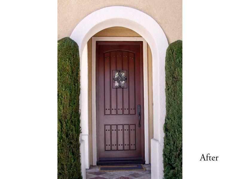 Rustic Style 8 Foot Jeldwen Aurora Estate Fiberglass Door Model 1322 With Mahogany Grain And Dark Cherry Finish No Antiquing Speakeas In 2019 Fiberglass Entry Doors Entrance Doors Doors