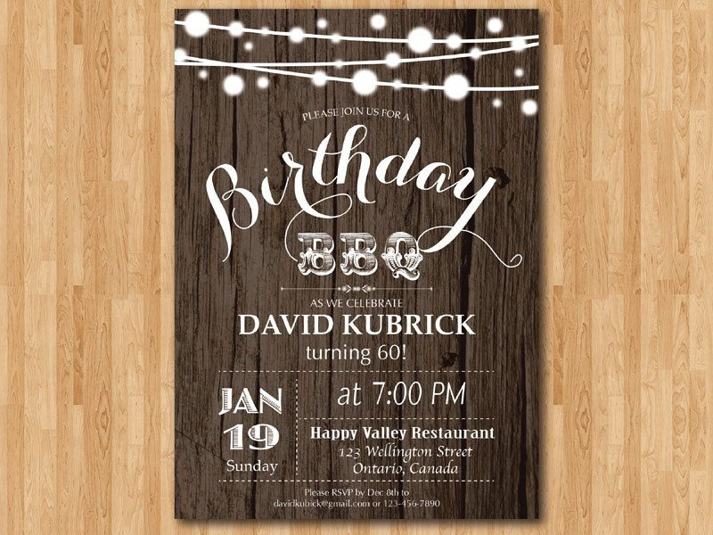 Birthday BBQ Invitation. 60th. Wood Rustic. BBQ Party Invitation ...
