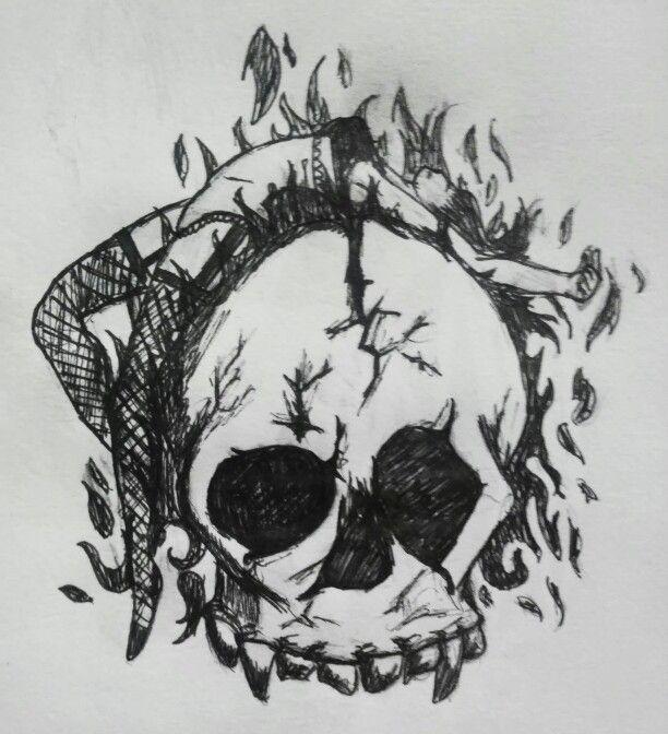sketch skull girl fire ink ilustras pinterest sketches