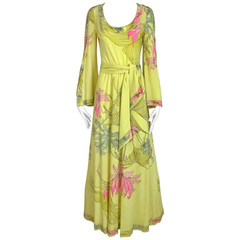 1970s LEONARD Yellow and Pink Floral Print Jersey Bell Sleeve Maxi vintage dress from pinterest 10/7/2019