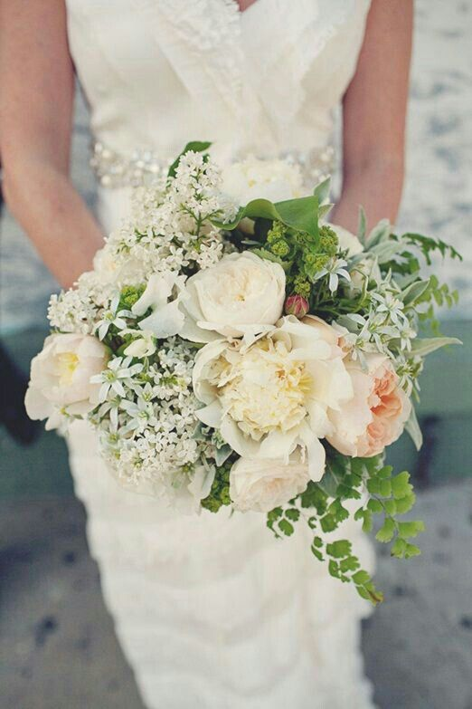 lovely bouquet comprised of white peonies white english garden roses white cabbage roses