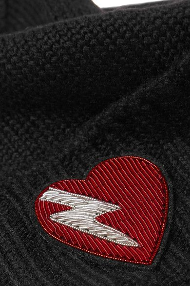4bd5dfcd5f14a Saint Laurent - Embroidered Wool Beanie - Black