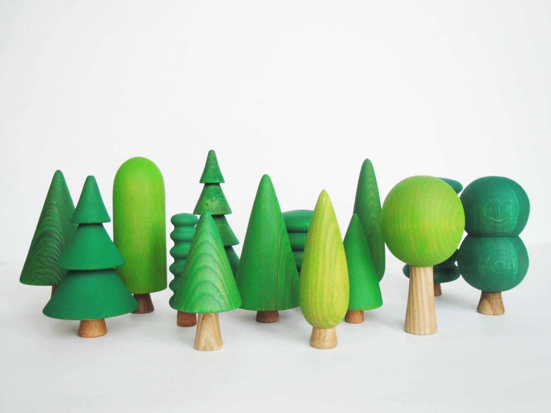 Woodland Tree Set 14 Pcs Wooden Tree Figurines Children