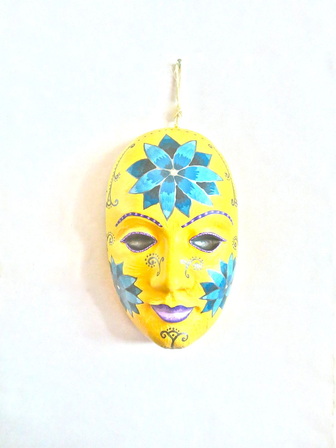 Venetian Mask, Ceramic Art, Floral Wall Art, Ceramic Wall Art ...