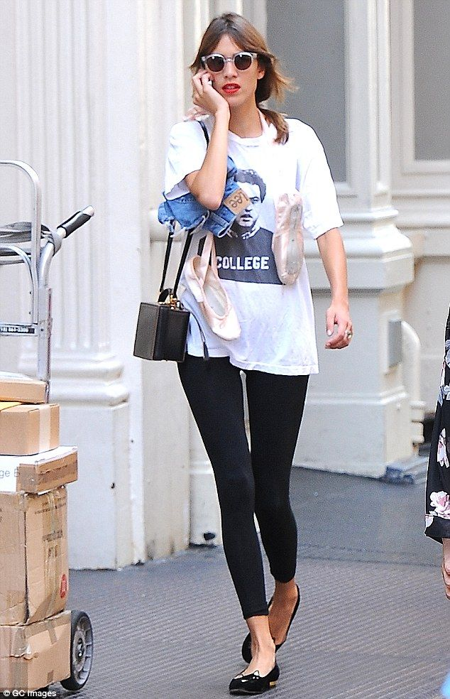 98e3bec190b6b Ballerina beauty: Alexa Chung chats on the phone while on the way to dance  class in New York's Soho district